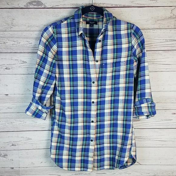 Madewell Tops - Madewell Tulsa Plaid Slim Boyfriend Button Up